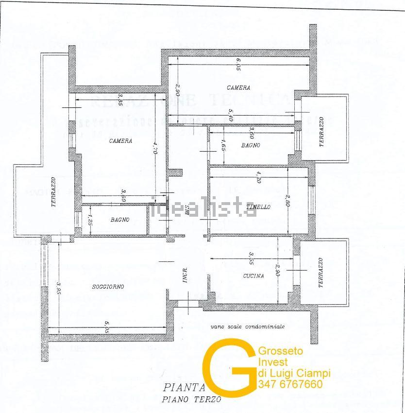 Planimetria appartamento in vendita in Via Costa, Gorarella, Grosseto Invest di Luigi Ciampi👈
