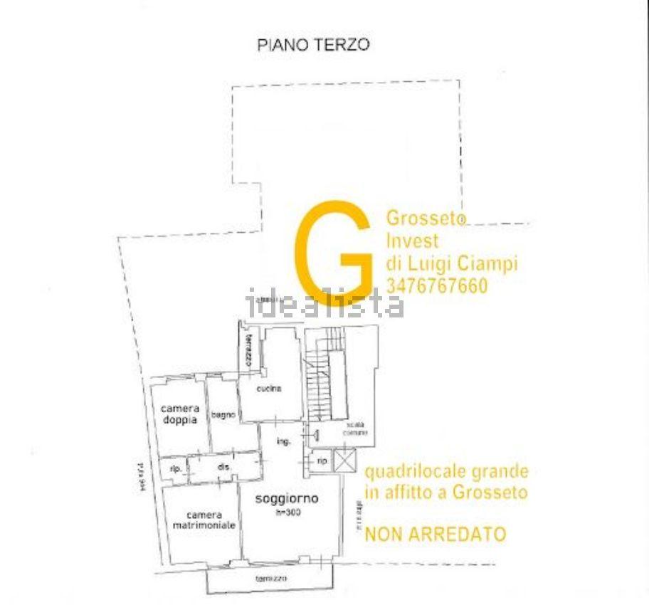 Planimetria di appartamento quadrilocale in affitto Via Depretis, Grosseto