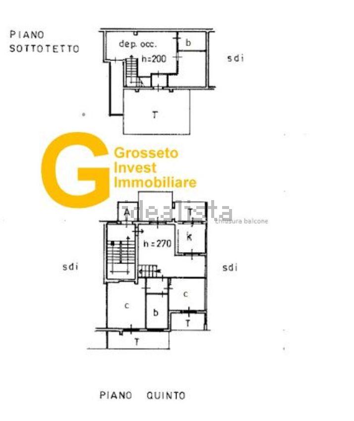 Grosseto Invest👈 di Luigi Ciampi Planimetria di appartamento su due piani in vendita a Grosseto, zona Cittadella