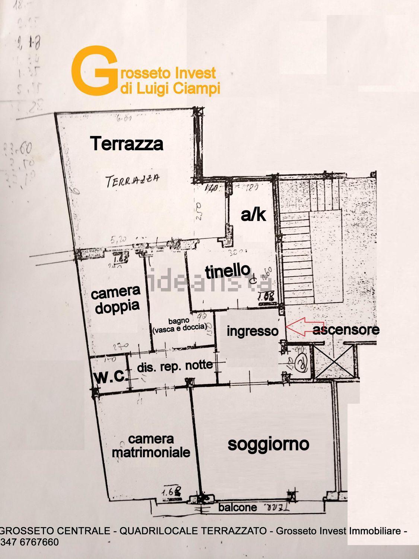 Grosseto Invest di Luigi Ciampi vendita appartamento Planimetria di quadrilocale su  Agostino de pretis, 10, Centro, Grosseto